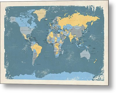 Retro Political Map Of The World Metal Print