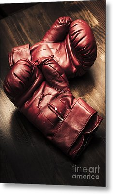 Retro Red Boxing Gloves On Wooden Training Bench Metal Print by Jorgo Photography - Wall Art Gallery