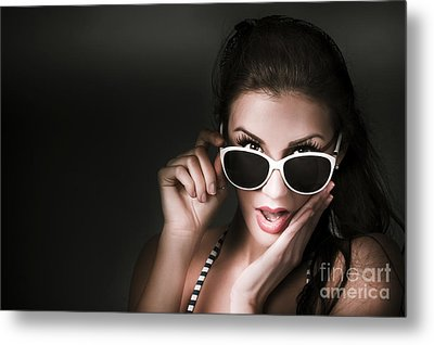 Retro Woman In Early Twenties Expressing Shock Metal Print by Jorgo Photography - Wall Art Gallery