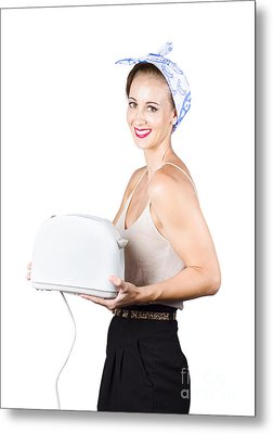 Retro Woman With Toaster Metal Print by Jorgo Photography - Wall Art Gallery