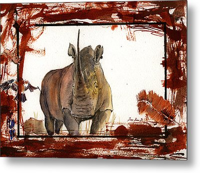 Rhino Metal Print by Juan  Bosco