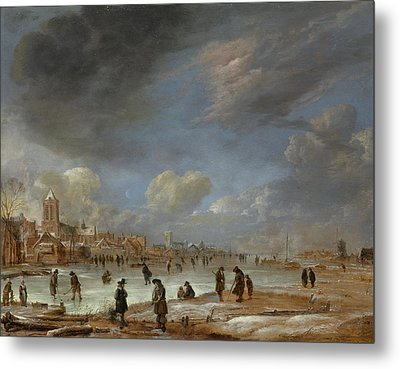 River View In The Winter, Aert Van Der Neer Metal Print