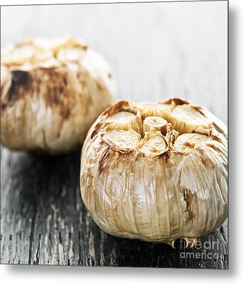 Roasted Garlic Bulbs Metal Print by Elena Elisseeva