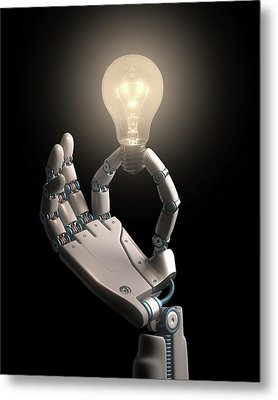 Robotic Hand Holding A Light Bulb Metal Print by Ktsdesign