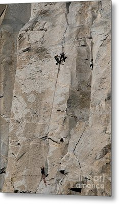 Rock Climber On El Capitan Metal Print by Mark Newman