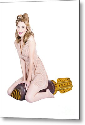 Rocket Girl. Retro Pin Up Model On War Missile Metal Print by Jorgo Photography - Wall Art Gallery