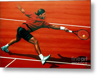 Roger Federer At Roland Garros Metal Print by Paul Meijering