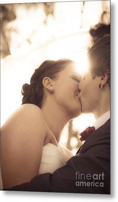 Romantic Wedding Kiss Metal Print