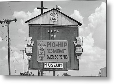 Route 66 - Pig-hip Restaurant Metal Print by Frank Romeo