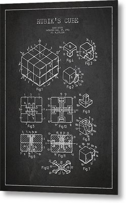 Rubiks Cube Patent Metal Print by Aged Pixel