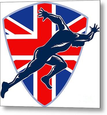 Runner Sprinter Start British Flag Shield Metal Print by Aloysius Patrimonio
