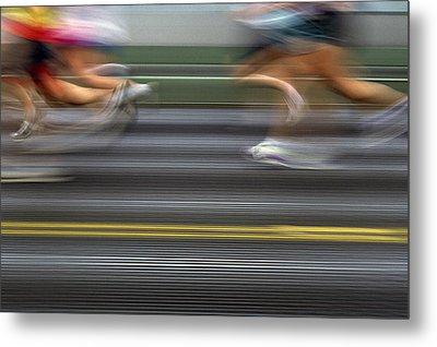 Runners Blurred Metal Print