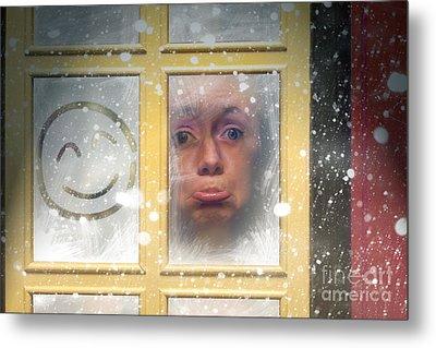 Sad Woman Stuck Indoors During Winter Snowstorm Metal Print by Jorgo Photography - Wall Art Gallery