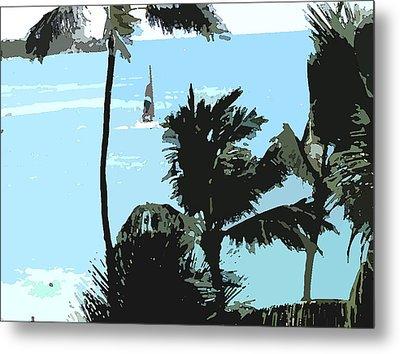 Sailboat And Luscious Palms Metal Print by Karen Nicholson