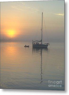 Sailboat Reflection Metal Print by Bob Sample