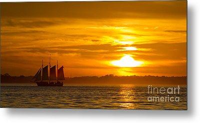 Sailing Yacht Schooner Pride Sunset Metal Print