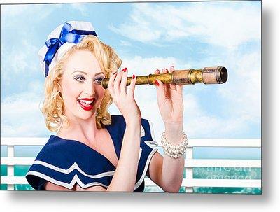 Sailor Girl Pin-up Looking Through Telescope Metal Print by Jorgo Photography - Wall Art Gallery