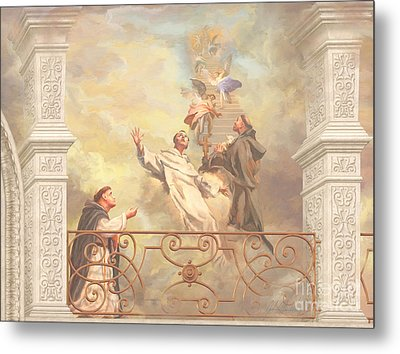 Saints Dominic Benedict And Francis Of Assisi 2 Metal Print by John Alan  Warford