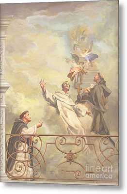 Saints Dominic Benedict And Francis Of Assisi II Metal Print by John Alan  Warford