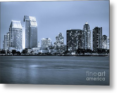 San Diego At Night Metal Print by Paul Velgos