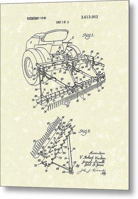 Sand Trap Rake 1971 Patent Art Metal Print