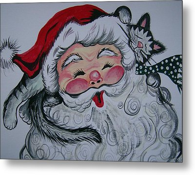 Santa And Company Metal Print by Leslie Manley