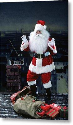 Santa Claus Dancing On A Rooftop Metal Print