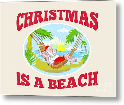 Santa Claus Father Christmas Beach Relaxing Metal Print by Aloysius Patrimonio