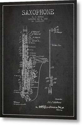 Saxophone Patent Drawing From 1928 Metal Print by Aged Pixel