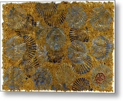 Scallops On Thai Banana Paper   Metal Print