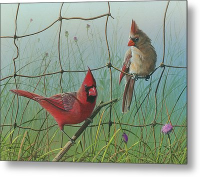 Metal Print featuring the painting Scarlet by Mike Brown