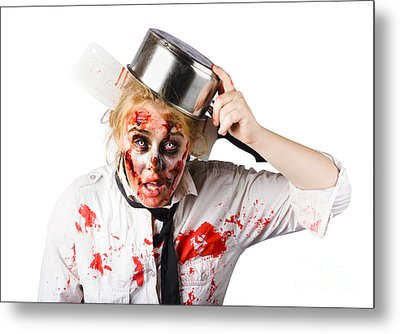 Scary Cook Making Mess With Jam Metal Print