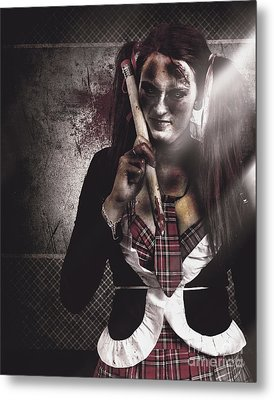 Scary Zombie School Student Holding Monster Pencil Metal Print