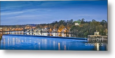Schuylkill River  Boathouse Row Lit At Night  Metal Print by David Zanzinger