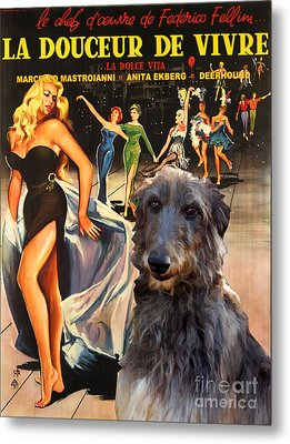 Scottish Deerhound Art - La Dolce Vita Movie Poster Metal Print by Sandra Sij