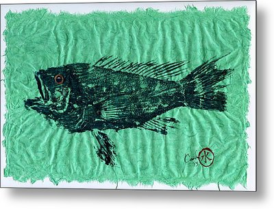 Sea Bass On Aegean Green Thai Unryu Paper Metal Print