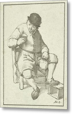 Seated Farmer With Pitcher, Cornelis Ploos Van Amstel Metal Print by Cornelis Ploos Van Amstel