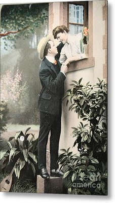 Secret Romance. Vintage Postcard 1907 Metal Print