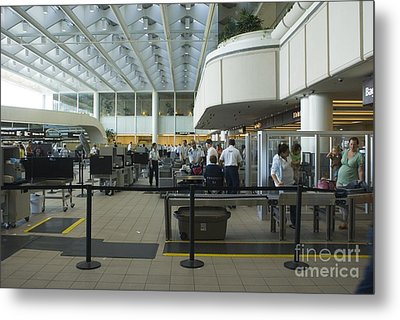 Security Area At Orlando Airport Florida Metal Print by Mark Williamson