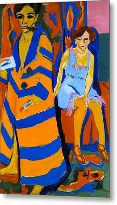 Self-portrait With Model Metal Print by Ernst Ludwig Kirchner