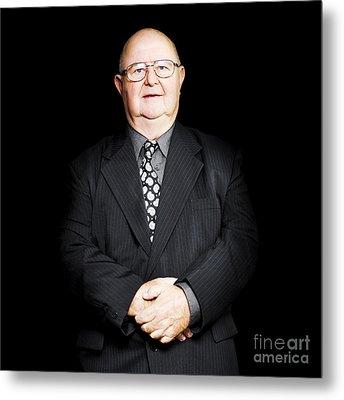 Senior Business Man Isolated On Black Background Metal Print