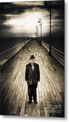 Senior Male Standing On A Pier Promenade Metal Print by Jorgo Photography - Wall Art Gallery
