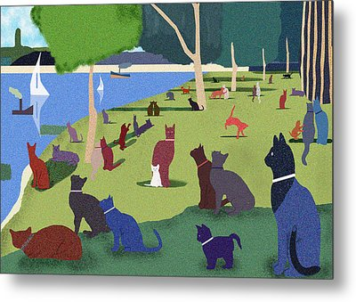 Seurat's Cats Metal Print by Clare Higgins