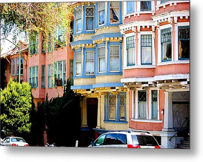 Sf Rowhouses Metal Print by Mamie Gunning