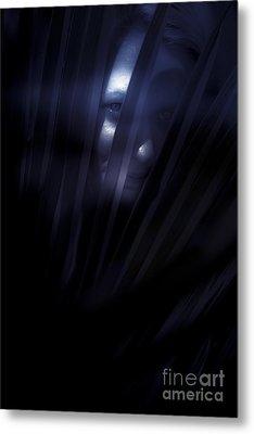 Shadowed Woman Behind Frond Metal Print