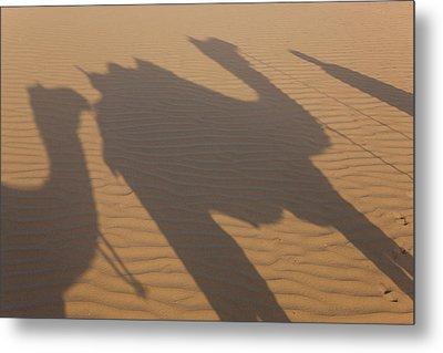 Shadows Of A Camel Train, Thar Desert Metal Print