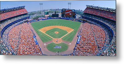 Shea Stadium, Ny Mets V. Sf Giants, New Metal Print by Panoramic Images