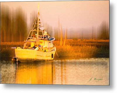 Ship At Dusk  Metal Print
