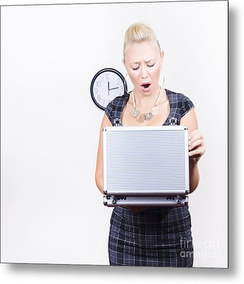 Shocked Accounting Employee Holding Open Briefcase Metal Print