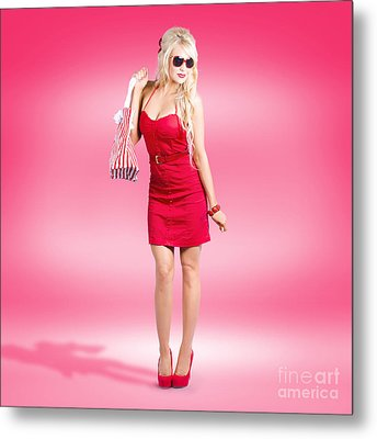 Shop Till You Drop. Female Retail Shopper In Red Metal Print